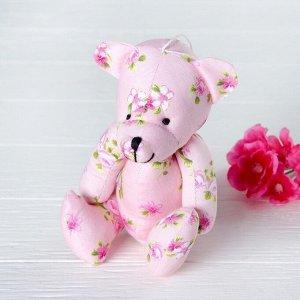 Мягкая игрушка-подвеска «Мишка в цветочек», цвета МИКС
