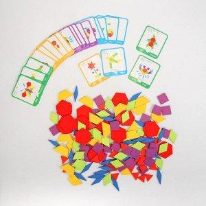 Деревянная игрушка «Развивающий геометрический пазл», 24,5 ? 21,3 ? 4 см, 24 карточки, 155 деталей
