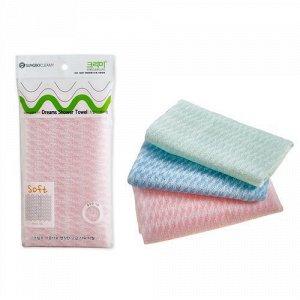 """Мочалка для тела с плетением «Сетка» и полиэстеровыми нитями """"Dreams Shower Towel"""" (мягкая) размер 28 см х 90 см / 300"""