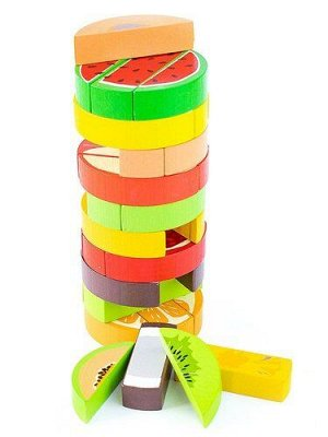 """Набор игровой логический """"Башня"""" Фрукты 30  дет.,7*7*16 см  (дерево)"""