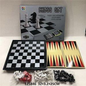 Игра 3 в 1 Шашки,Шахматы.Нарды , кор.32*25*3,2 см
