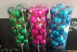 Набор из 24-х шаров на елку d-4.5cм, в ассорт.*