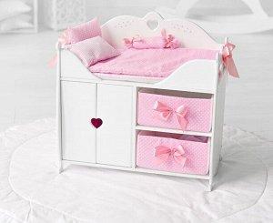 """Кроватка для кукол с комодом и шкафом  """"Diamond princess"""" с постельным бельем мягк.корзин. цв.белый"""