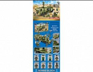 Конструктор 1196 дет. Военная машина с фигурками, кор.60,8*8*37,8 см