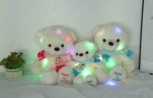 Мягкая игрушка Медведь светящийся с шафом 45см, в ассорт.