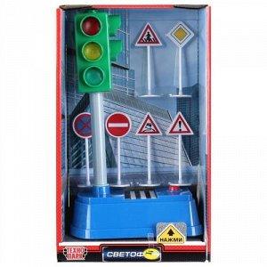 "Игрушка ""Технопарк"" Светофор на бат,21 см, свет,звук,дорожные знаки,кор"