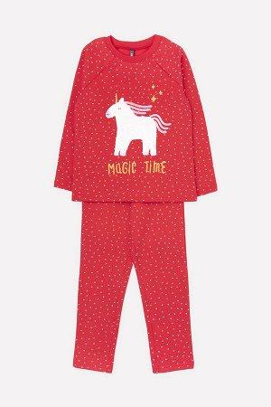 Пижама(Осень-Зима)+girls (насыщенно-красный, мелкие звездочки)