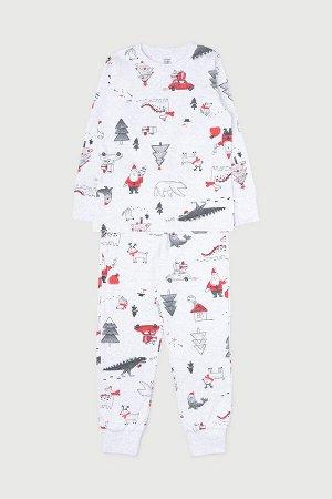 Пижама детская Crockid К 1550 дед мороз и автомобили на меланже
