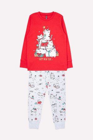 Пижама детская Crockid К 1532 насыщенно-красный, новогодние коты
