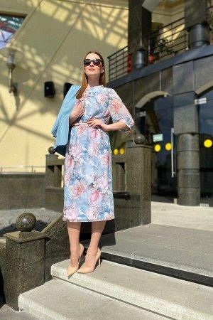 Жакет, платье Karina deLux B-372 розово-голубой