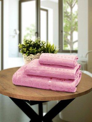 """Набор махровых полотенец """"Жаккард розовый"""""""