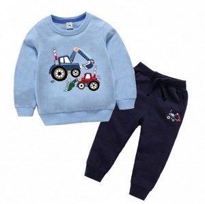 """Детский костюм, голубой свитшот и темно-синие штаны, принт """"Экскаваторы"""""""
