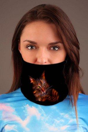 Рыжий кот Красивый баф - повязка-трансформер на шею чёрного цвета с ярким дизайнерским принтом. Повязка-трансформер может легко выполнять рольшарфа, балаклавы или даже шапочки, обеспечивая ваш комфор