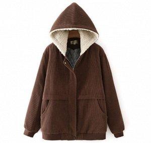 Утепленная куртка на хлопке (стеганый подклад),коричневый