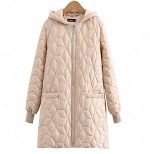Стеганое демисезонное пальто,бежевый