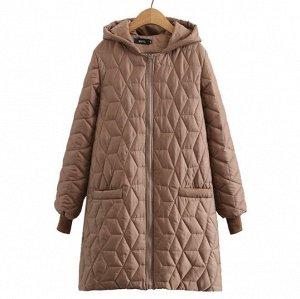 Стеганое демисезонное пальто,коричневый