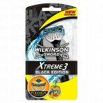 Wilkinson Schick Однораз.станок Xtreme3 BLACK Edition (3+1 шт.) увл.полоса, плав.головка, 7005722С