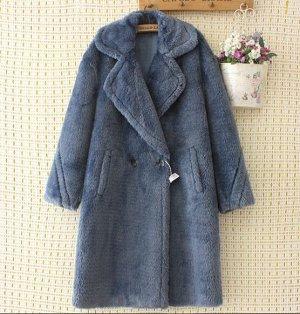 Пальто из иск. меха,синий