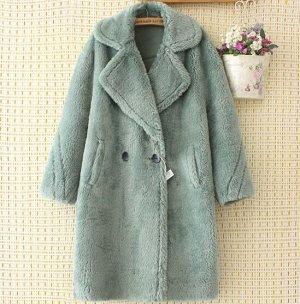 Пальто из иск. меха,серо-зеленый