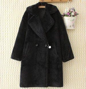 Пальто из иск. меха,черный
