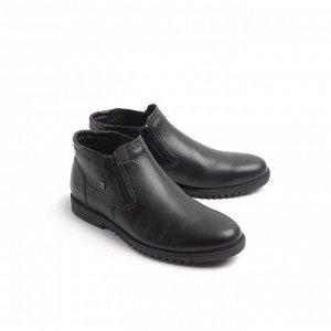 Ботинки демисезонные мужские, черная кожа