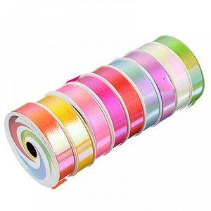 Лента подарочная, декоративная, 1,8 см х 8 м, пластик, 18 цветов, перламутр