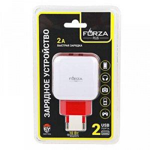 С FORZA Зарядное устройство USB Акварель, 220В, 2USB, 2А, пластик, цветное