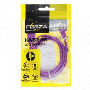 С FORZA Кабель для зарядки Комфорт iP, 1м, 1А, PVC, прорезиненный, 5 цветов