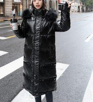 Длинный Пуховик с меховым капюшоном  черный