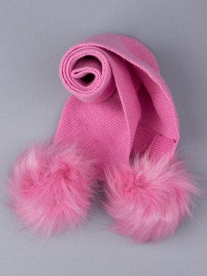 Шарф вязаный детский с двумя помпонами, лавандово-розовый