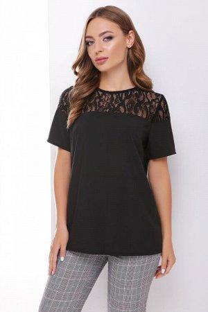 Блуза Ткань - супер софт + гипюр (95% полиэстер, 5% эластан). Растяжимость низкая. Рост модели на фото 168 см. Длинна изделия по спинке в 42-44 размере 59 см, каждый следующий размер + 1 см, длинна ру
