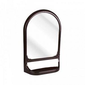 Зеркало Зеркало с полкой (КОРИЧНЕВЫЙ).Зеркало имеет необычную форму -  прямоугольную у основания и овальную в верхней части. Конструкция зеркала имеет полку, что позволяет разместить на ней ванные и д