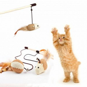 "Игрушка для кошек-""Дразнилка"" на палочке - мышь"