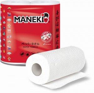 Полотенца бумажные Maneki RED в рулоне 2сл, 60л. белые 2 рулона