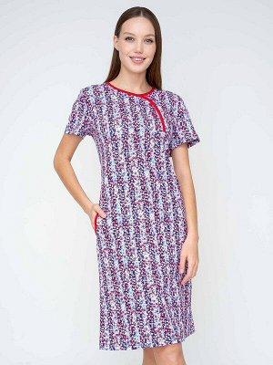 Платье Ткань: Кулирка; Состав: Хлопок 100%; Цвет: Красно-голубой; Страна: РоссияЛегкое платье в стиле домашней классики - так хочется описать эту модель. Очень женственный силуэт, с длиной, которая по