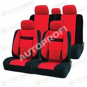 Чехлы AUTOPROFI COMFORT для передних и задних сидений, велюр, черный/красный цвет, 11 предметов