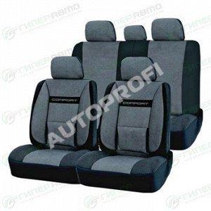 Чехлы AUTOPROFI COMFORT для передних и задних сидений, велюр, черный/серый цвет, 11 предметов