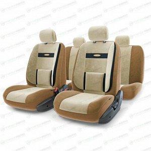 Чехлы AUTOPROFI COMFORT для передних и задних сидений, велюр, черный/бежевый цвет, 11 предметов