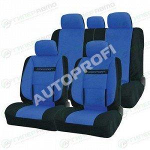 Чехлы AUTOPROFI COMFORT для передних и задних сидений, велюр, черный/синий цвет, 11 предметов