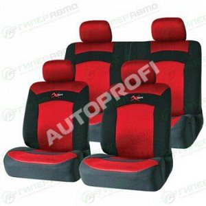 Чехлы AUTOPROFI EXTREME для передних и задних сидений, ткань, черный/красный цвет, 8 предметов