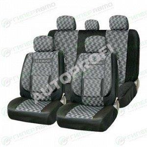 Чехлы AUTOPROFI COMFORT DIAMOND для передних и задних сидений, жаккард, черный цвет, 11 предметов