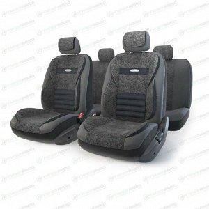 Чехлы AUTOPROFI MULTI COMFORT для передних и задних сидений, велюр и экокожа, черный цвет, 11 предметов