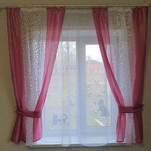 """Комплект штор для кухни """"Жанет"""" ярко-розовая"""