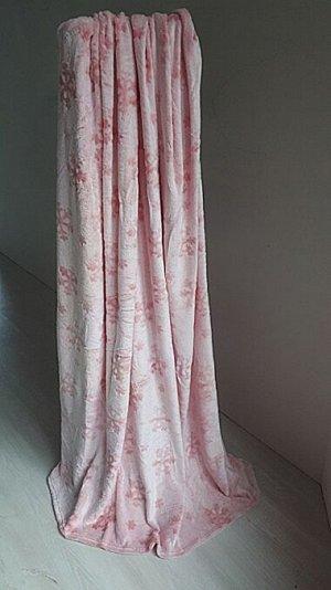 Плед 170*200 Снежинка розовая