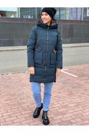 Женская зимняя куртка 2022 темно-бирюзовая