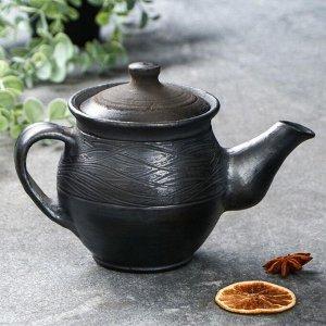 """Чайник заварочный """"Чёрная керамика дымленая"""", 0,5 л"""