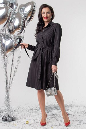 """Платье - рубашка на пуговицах """"Джолли"""" (черное) П1776"""