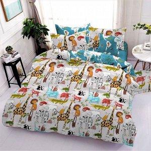 КПБ 1,5 спальный из поплина с простыней на резинке АФРИКА