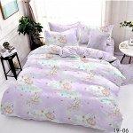 Комплект 1,5 спальный с простыней на резинке из поплина ЕДИНОРОЖКИ БЕЗ комбинирования