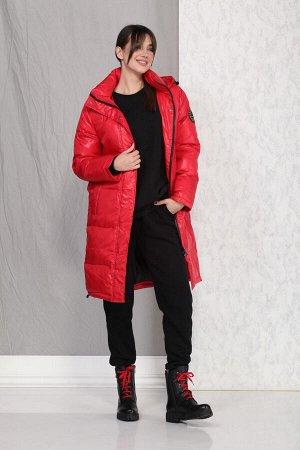 Пальто Пальто Beautiful&Free 4014 красный  Состав ткани: ПЭ-100%;  Пальто женское, демисезонное, из гладкокрашеной полиэфирной ткани, с утепляющей подкладкой из синтепона, на притачной подкладке.  Си
